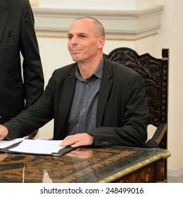 Greece, Athens, Jan. 27, 2015. New Greek Finance Minister Yanis Varoufakis is seen after a swearing in ceremony at the Presidential Palace in Athens.