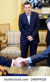 Greece, Athens, Jan. 27, 2015 Greece's new left-wing Prime Minister Alexis Tsipras attends the swearing in ceremony of his government at the Presidential Palace in Athens.