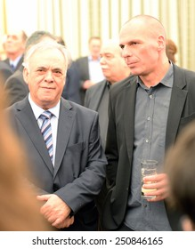 Greece, Athens, Jan. 27, 2015. New Greek Finance Minister Yanis Varoufakis (right) with Deputy Prime Minister Giannis Dragasakis (left)  after a swearing in ceremony at the Presidential Palace.