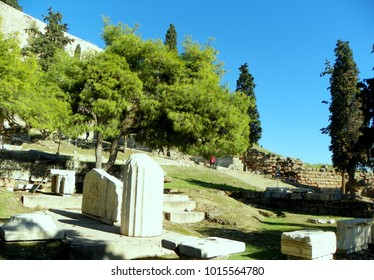 Greece, Athens, the ruins of the temple of  Asclepios