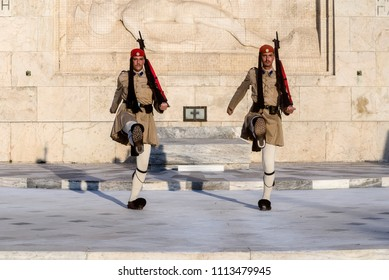GREECE, ATHENS - september 13, 2016 :  Evzones in front of the Tomb of the Unknown Soldier. Changing of the guard in front of the Greek Parliament Building on Syntagma Square.