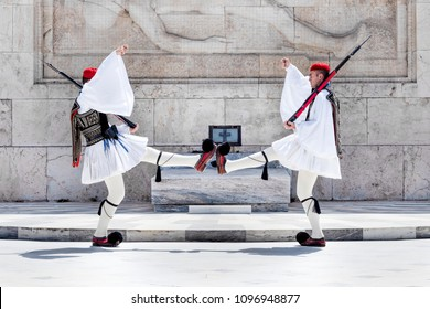 Greece, Athens: Two members of the Presidential Guard soldiers (Evzones or Evzonoi) in the city center of the Greek capital - concept history tradition ceremony elite military. May 01, 2018