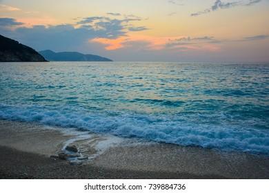 Greece beach sunset