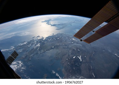 "Greece, the boot of Italy and the island of Sicily from space ""elements of this image furnished by NASA"""