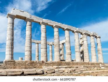 Greece. Cape Sounion - Ruins of an ancient Greek temple of Poseidon