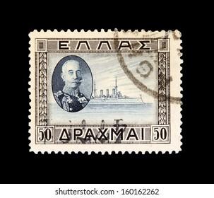 GREECE, CIRCA 1910 - The post stamp with portrait of admiral Paulos Kountouriotis circa 1910 in Greece
