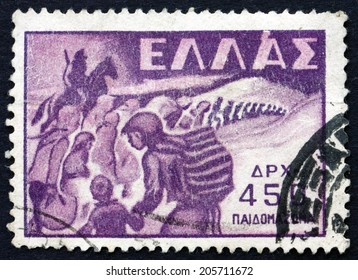 GREECE - CIRCA 1949: a stamp printed in the Greece shows Abduction of Children, circa 1949