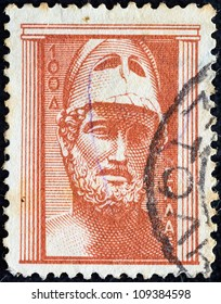 """GREECE - CIRCA 1954: A stamp printed in Greece from the """"Ancient Greek Art"""" issue shows bust of Pericles, circa 1954."""