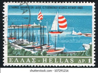 GREECE- CIRCA 1969: A stamp printed by Greece, shows port, circa 1969