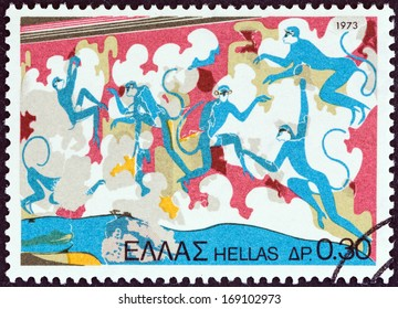 "GREECE - CIRCA 1973: A stamp printed in Greece from the ""Archaeological Discoveries, Island of Thera (Santorini) "" issue shows Blue Apes (fresco), circa 1973."