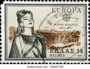 GREECE - CIRCA 1980: A stamp printed by Greece, shows Maria Callas, Opera Singer, circa 1980