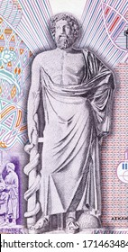 GREECE - CIRCA 1995: Asclepius on 10000 Drachmes 1995 Banknote from Greece. God of medicine and healing in ancient Greek religion.