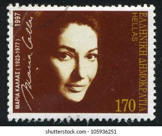 GREECE - CIRCA 1997: A stamp printed by Greece, shows Maria Callas, Opera Singer, circa 1997
