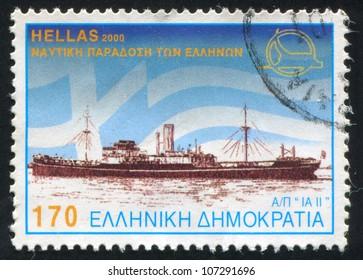 GREECE - CIRCA 2000: A stamp printed by Greece, shows Steamships, circa 2000