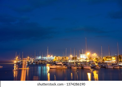 Greece, Crete, August 2018: Old venetian harbor with boats in Heraklion, Crete island, Greece