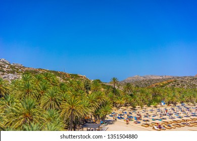 Greece, Crete, August 2018: Vai palmtrees bay and beach at Crete island in Greece