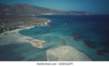 Greece, Crete, Elafonisi beach by drone
