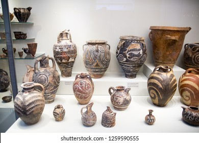 Greece, Crete, Heraklion - July 18, 2018: Ceramics vases and other objects from the Knossos palace.  Archaeological museum display