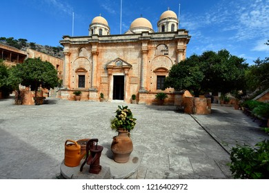 Greece, Crete Island, monastery of Agia Triada aka Holy Trinity from 17th century on Akrotiri Peninsula