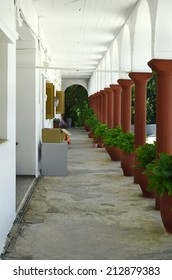 Greece, Crete, portico in inner courtyard of monastery Kroustallenia