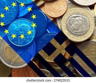 Greece crisis - European flag and flag of Greece over a bunch of Greek euro coins
