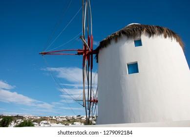 Greece, Cyclades, Mykonos, Hora. Historic 16th century Cycladic style windmill. .