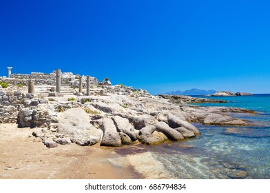 Greece, Dodecanese, Kos, the ruins of Agios Stefanos basilica in the Kefalos bay