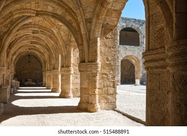 Greece, Dodecanese, Rhodes, the courtyard of the old Hospital of St. John,s Knights, actually Archaeological Museum