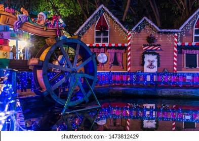 Greece, Drama- December 25 2018- Night view of Santa village in Oneiroupoli. Drama Greece