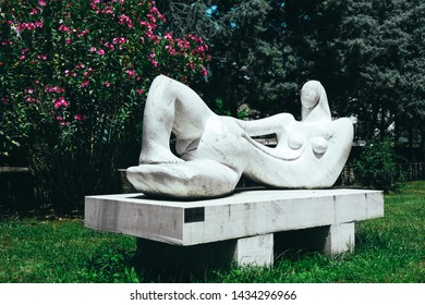 "Greece, Drama - June 5, 2019: Sculpture ""Rossia"" in municipal Drama park by Gennady Alexandrov."