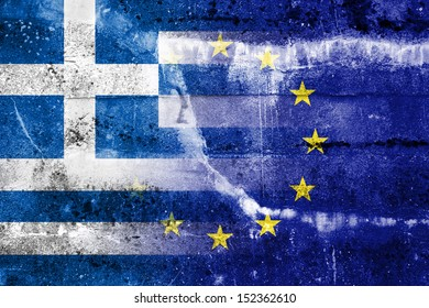 Greece and European Union Flag painted on grunge wall. The economic crisis in Greece