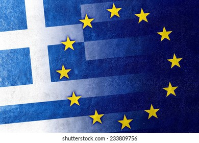 Greece and European Union Flag painted on leather texture
