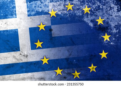 Greece and European Union Flag with a vintage and old look