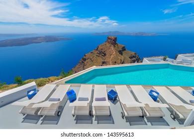 Greece famous santorini island in Cyclades, panoramic sea view of caldera at summer