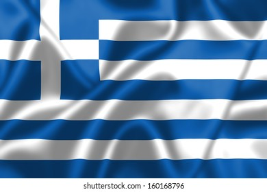 Greece flag blowing in the wind. Background texture.