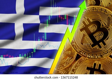 Greece flag and cryptocurrency growing trend with many golden bitcoins