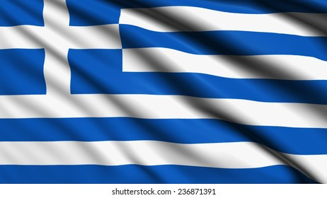 Greece flag with fabric structure