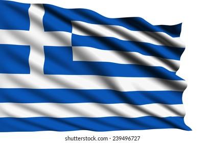 Greece flag with fabric structure (clipping path)