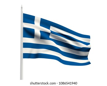 Greece flag floating in the wind with a White sky background. 3D illustration.