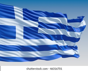 Greece flag flying on clear sky background.