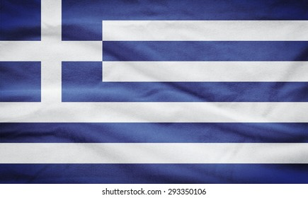 Greece Flag. Flag of Greece on cotton background.