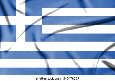 Greece flag on soft and smooth silk texture