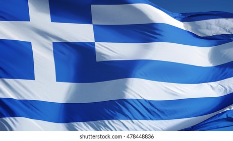 Greece flag waving against clean blue sky, close up, isolated with clipping path mask alpha channel transparency