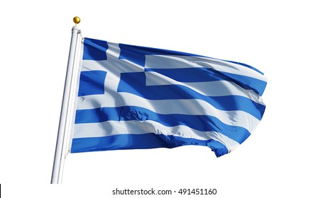 Greece flag waving on white background, close up, isolated with clipping path mask alpha channel transparency
