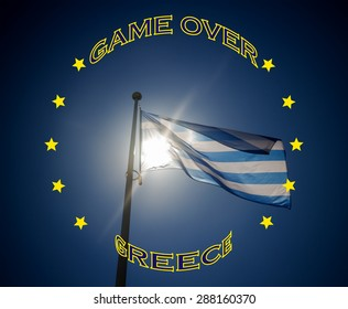 Greece flagge and text that game over Greece, illustration