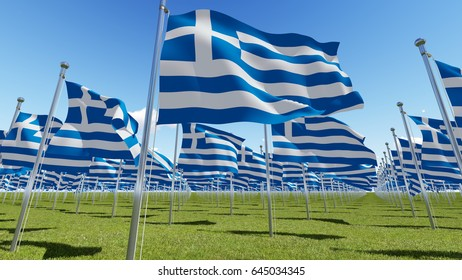 Greece flags waving on wind in green field and blue sky. Three dimensional 3D rendering illustration.