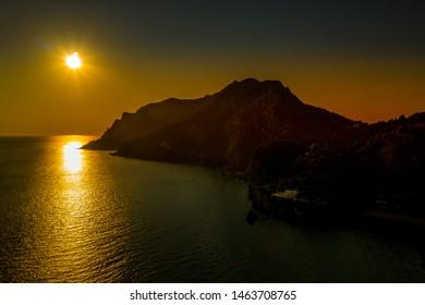 Greece, Glyfada - June 26, 2019: Glyfada beach sunset