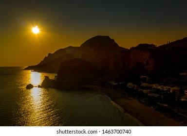 Greece, Glyfada - June31, 2019: Sunset in Glyfada beach
