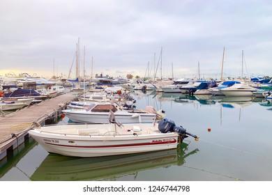 Greece, Glyfada, October 2018: Moored boats and yachts