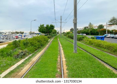 GREECE, GLYFADA, October 2018: Tram railway